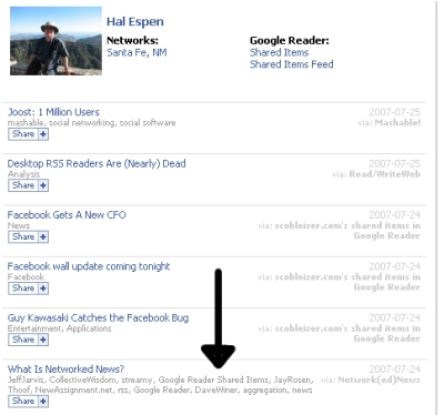 google reader shared items screenshot